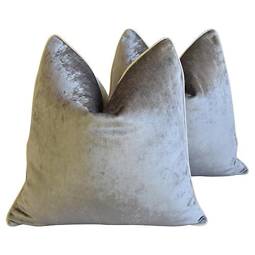 Silver Scalamandre Velvet Pillows, Pr