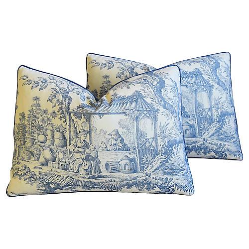 Blue Chinoiserie Toile Pillows, Pr