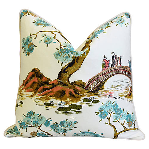 Chinoiserie Asian Silk Floral Pillow