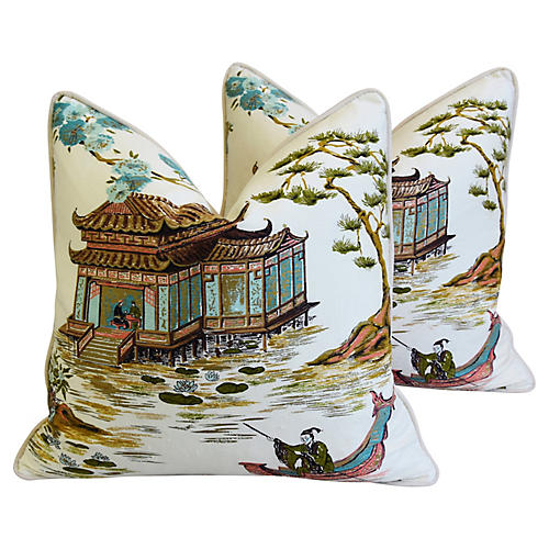 Chinoiserie Silk Tea House Pillows, Pair