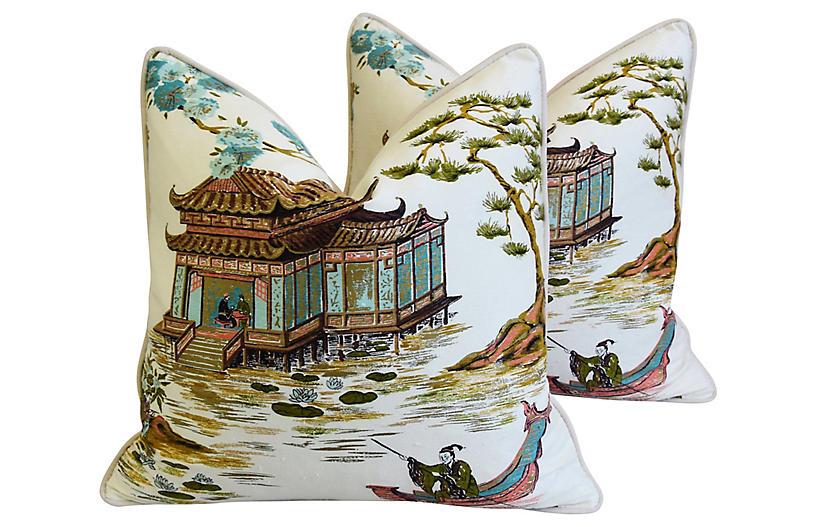 Chinoiserie Silk Tea House Pillows, Pair