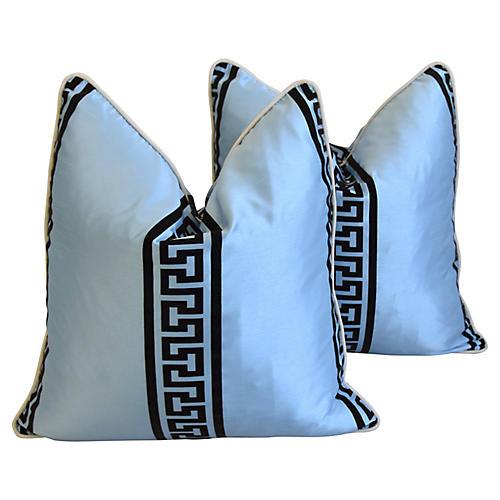 Blue Dupioni Satin Greek Key Pillows, Pr