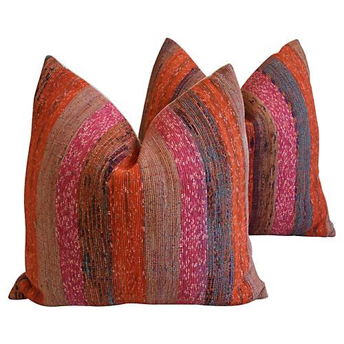 Striped Rag Rug & Linen Pillows, Pair