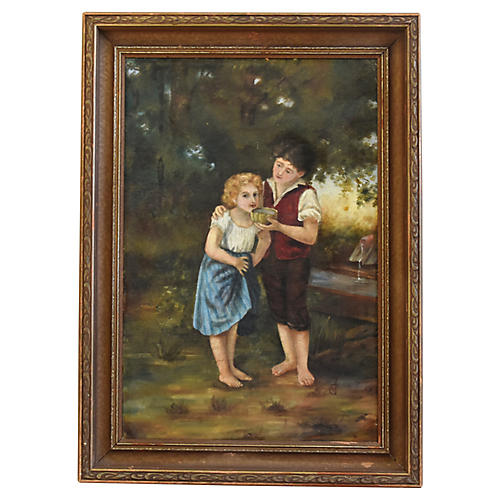 Antique Landscape w/ Children Painting