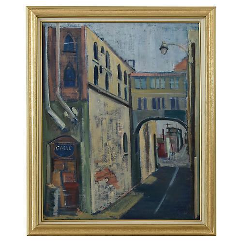 Vintage European Town Village Painting
