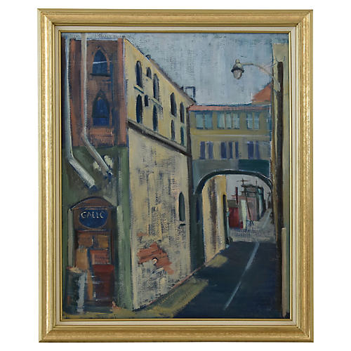 Vintage European Town Village Painting