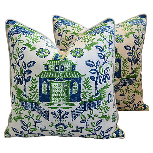 Blue/White/Green Chinoiserie Pillows, Pr