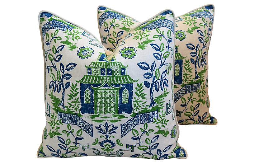 Blue & Green Chinoiserie Pillows, Pr