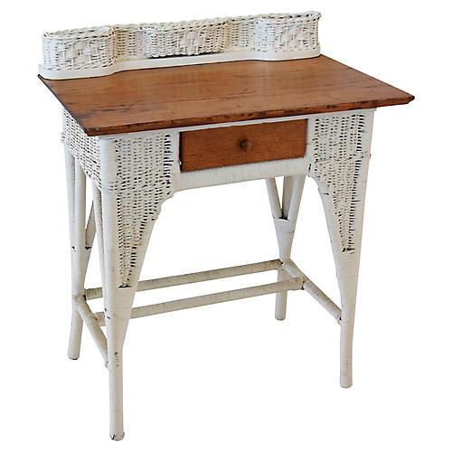Antique Painted Wicker/Oak Writing Desk