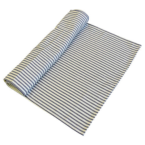 Blue-Gray & Ivory Ticking Table Runner