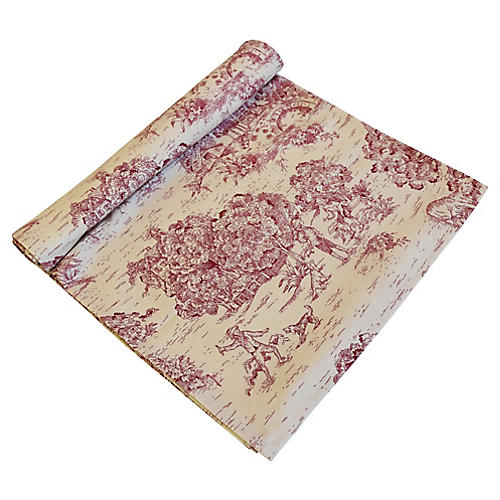 Red & Cream Country Toile Table Runner