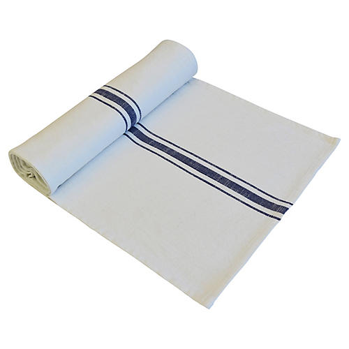 Farmhouse White/Blue Stripe Table Runner