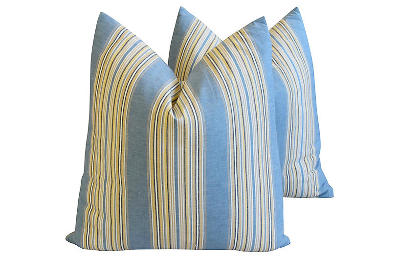 French Blue Striped Ticking Pillows, Pr