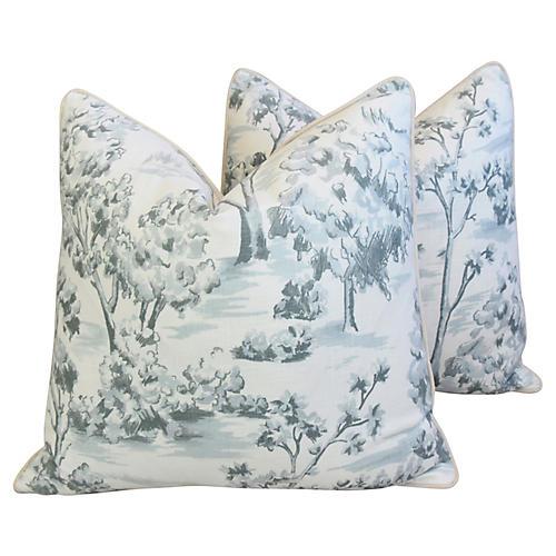 Blue-Gray Linen Toile Pillows, Pair