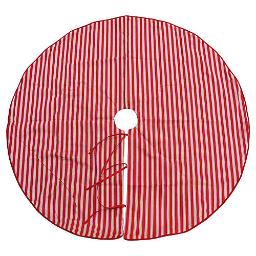 Red & Green Striped Christmas Tree Skirt