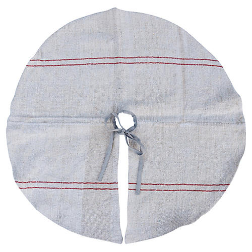 French Grain Sack Christmas Tree Skirt