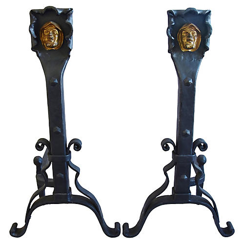 Hand-Forged Iron Monk Fireplace Andirons