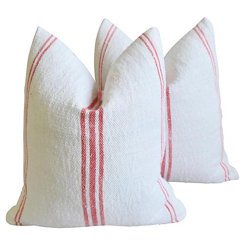 French Homespun Grain-Sack Pillows, Pair