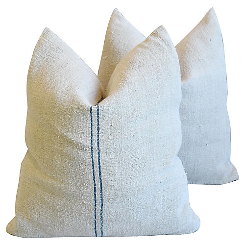 French Farmhouse Grain-Sack Pillows, Pr