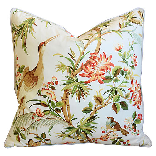 Chinoiserie Floral & Birds Pillow