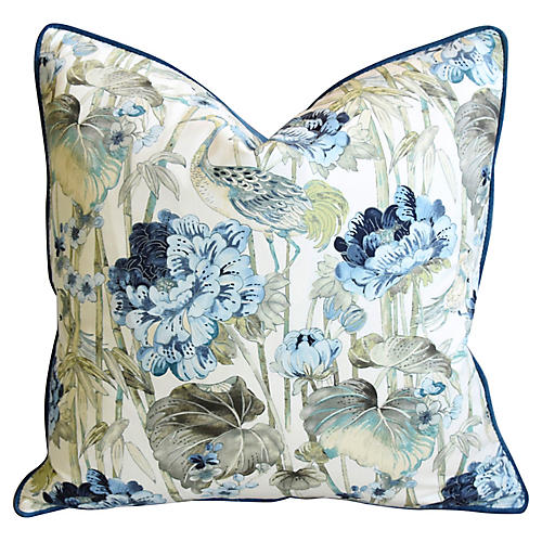 Chinoiserie Crane & Floral Pillow