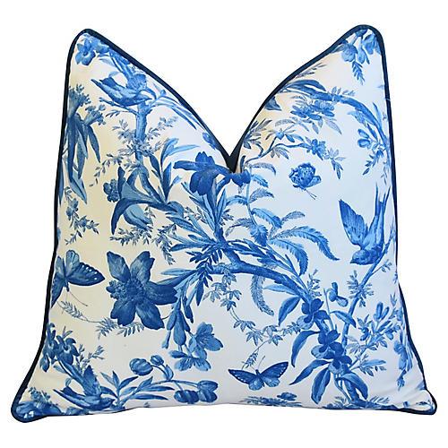 Blue P. Kaufmann Aviary Toile Pillow