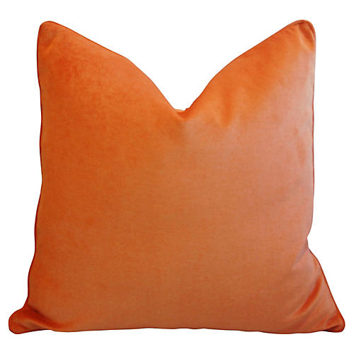 Tangerine Velvet Pillow