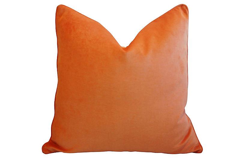 Tangerine Velvet Pillow