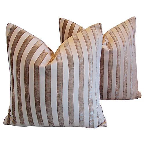 French Velvet Striped Pillows, Pair