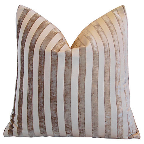 French Velvet Striped Pillow