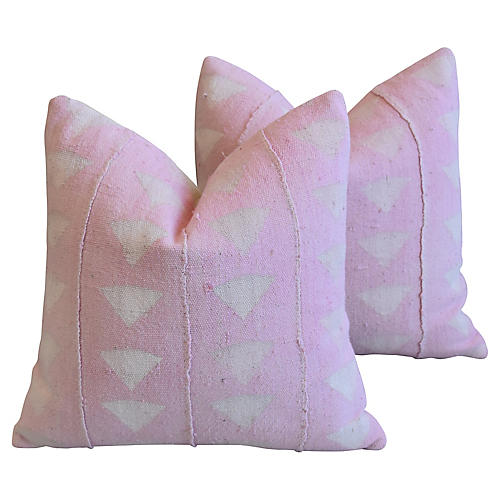 Pink Mud Cloth & Velvet Pillows, Pair