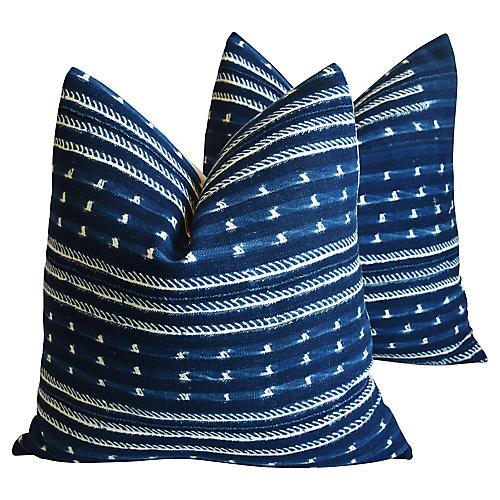 Malian Blue & White Pillows, Pair