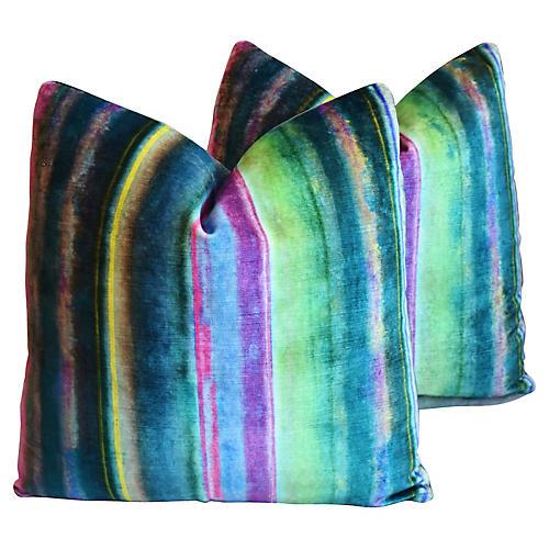 Designers Guild Velvet Pillows, Pair