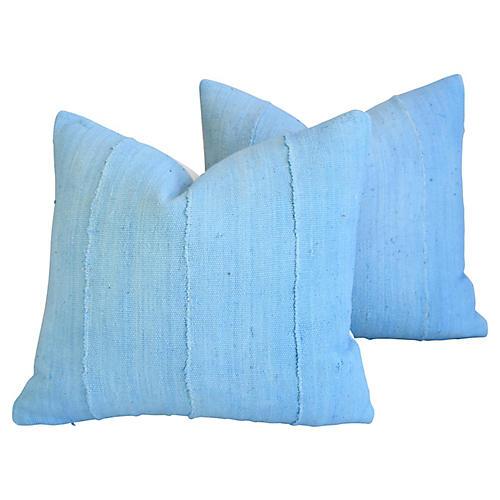 Blue Mud Cloth & Velvet Pillows, Pair