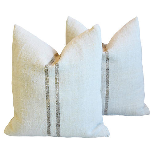 Tobacco Striped Grain-Sack Pillows, Pair