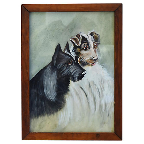 Midcentury Portrait of Two Dogs