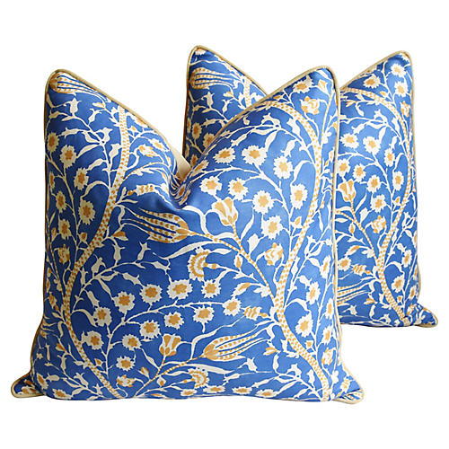 Clarence House Floral Fabric Pillows, Pr