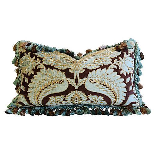 Italian Embroidered Silk & Velvet Pillow