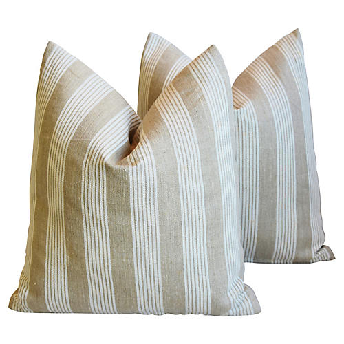 Tan & White French Ticking Pillows, Pair
