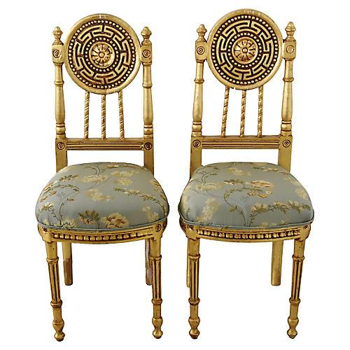 Italian Scalamandre Silk/Gilt Chairs, Pr