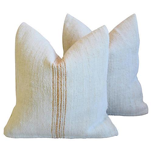 Gold Striped Grain-Sack Pillows, Pair