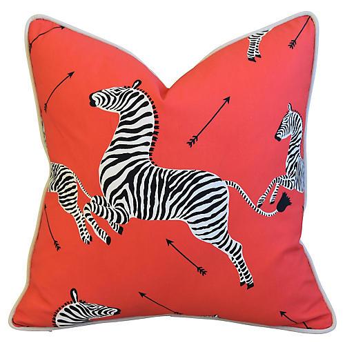 Designer Red/Coral Zebras Pillow