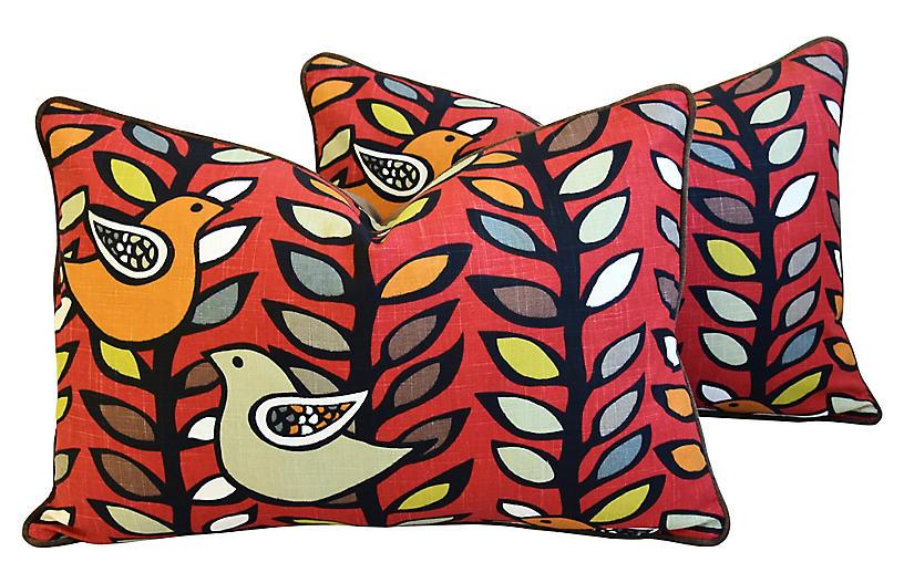 1970s Botanical Dove Pillows, Pair