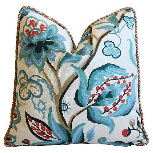 Schumacher Alexandra Teal Floral Pillow