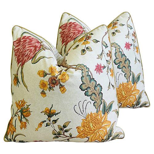 Schumacher Floral & Ticking Pillows, Pr