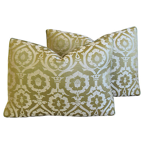 Michael Smith Silk Damask Pillows, Pair