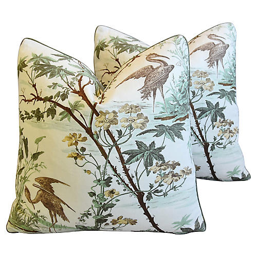Raoul Textiles Chinoiserie Pillows, Pair