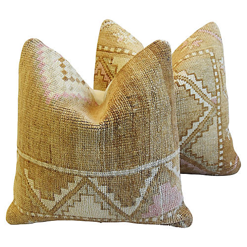 Earth-Toned Turkish Wool Rug Pillows, Pr