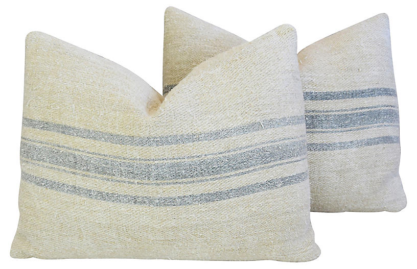 Blue-Gray Striped Grain-Sack Pillows, Pr