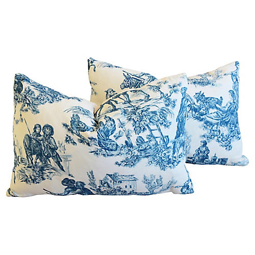 French Blue & White Toile Pillows, Pair